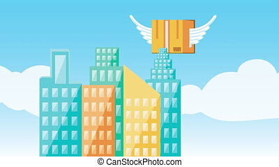 logistic service with box flying on the city ,4k video ...