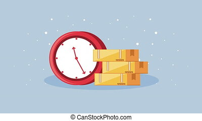 logistic service with boxes carton and time clock ,4k video ...