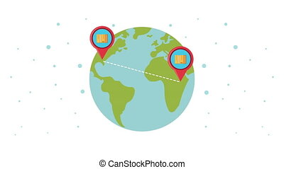 logistic service with boxes in pins location on the earth ...