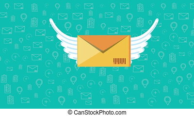 logistic service with envelope mail flying ,4k video ...