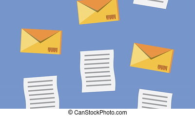 logistic service with envelopes and documents animation ,4k ...