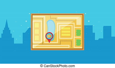 logistic service with map paper and pins locations ,4k video...