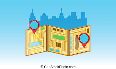 logistic service with map paper and pins locations animation...