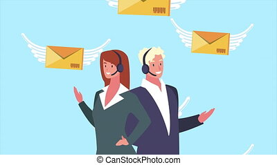 logistic service with support agents and envelopes flying ,...