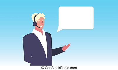 logistic service with support male agent and speech bubble ,...