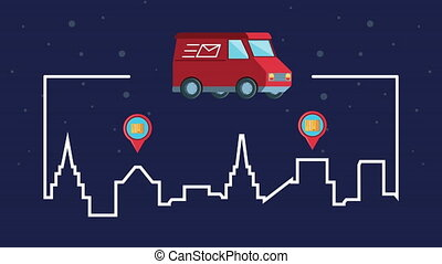 logistic service with van and pins locations animation ,4k ...