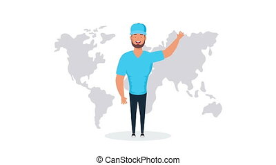 logistic service worker with world map ,4k video animated