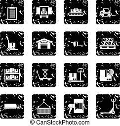 Logistic set icons, grunge style