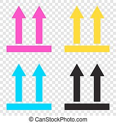 Logistic sign of arrows. CMYK icons on transparent background. C
