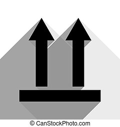 Logistic sign of arrows. Vector. Black icon with two flat gray shadows on white background.