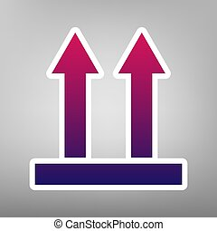 Logistic sign of arrows. Vector. Purple gradient icon on white paper at gray background.
