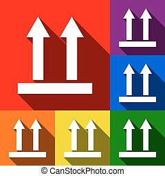 Logistic sign of arrows. Vector. Set of icons with flat shadows at red, orange, yellow, green, blue and violet background.