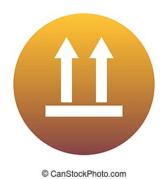 Logistic sign of arrows. White icon in circle with golden gradie