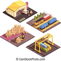 Logistic Sort Facilities Set - Isometric logistic design...