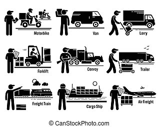 Vector set of logistic transportation vehicle of motorbike, van, lorry, forklift, convoy, trailer truck, freight train, cargo ship, and airplane.