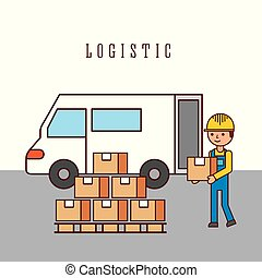 logistic worker loading truck with goods delivery