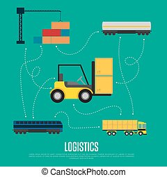 logistica, bandiera, globale, trasporto