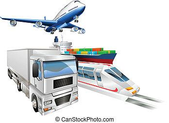 logistica, carico, concetto, treno, camion, aeroplano, nave