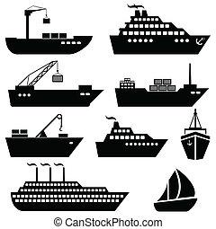 logistica, carico, icone, spedizione marittima, navi, barche
