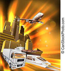 logistica, città, consegna, grafico