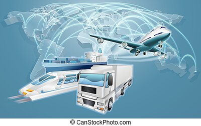 logistica, concetto, commercio mondiale, mappa
