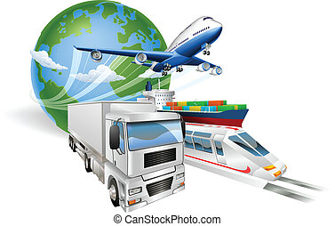 logistica, concetto, globale, treno, camion, aeroplano, nave