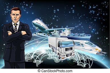 logistica, concetto, trasporto, fondo