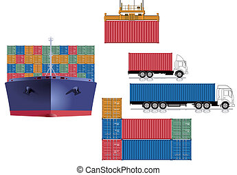 logistica, contenitore, trasporto