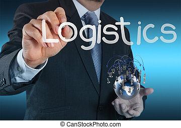 logistica, diagramma, concetto, mostra, uomo affari