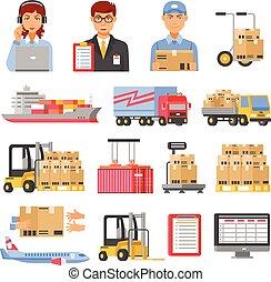 logistica, e, consegna, icone decorative, set