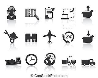 logistica, e, spedizione marittima, icone