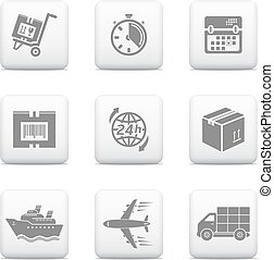 logistica, icone fotoricettore, spedizione marittima, bottoni