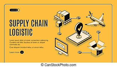 logistica, isometrico, catena, fornitura, webpage, ditta