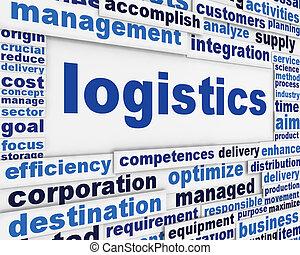 logistica, manifesto, concettuale, disegno