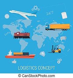 logistica, mappa, concetto, trasporto, mondo