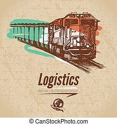logistica, schizzo, poster., consegna, fondo., cartone