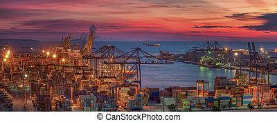 logistico, nave, carico, porto