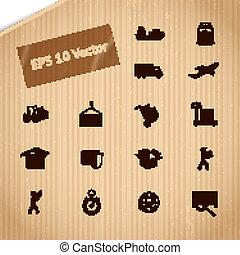 logistico, trasporto, servizio, icone, set