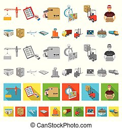Logistics and delivery cartoon icons in set collection for ...
