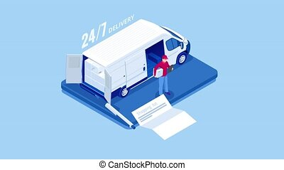 Logistics and Delivery concept. Delivery home and office. ...