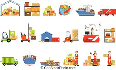 Logistics And Delivery Related Set Of Objects