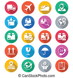 Logistics and shipping flat color icons - Simple vector...