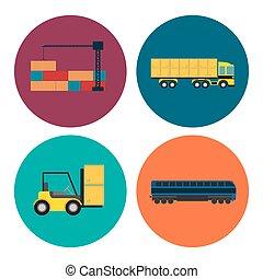 Logistics and transportation icon set