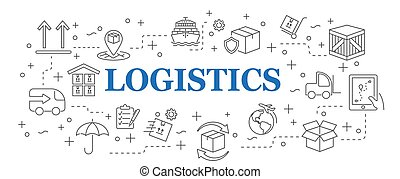 Logistics. Banner logistics with vector icons