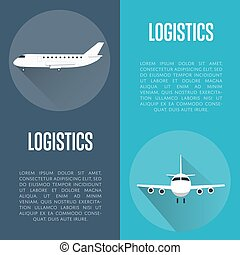 Logistics banner set with airplane
