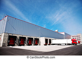 logistics building truck - truck in front of an industrial ...