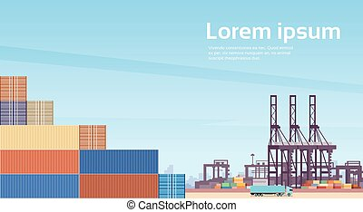 Logistics Cargo Container Industrial Sea Port Freight Warehouse Terminal