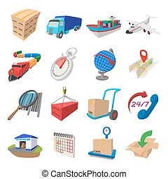Logistics cartoon icons