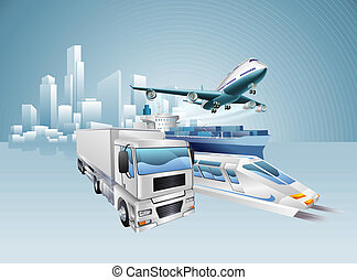 Logistics city business concept with delivery transport ...