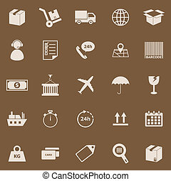 Logistics color icons on brown background